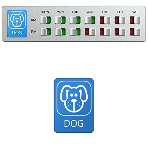 Dog Food Organizer – Pet Feeding Reminder – Am Pm Daily Indicator Sign – Fed or Feed the Puppy Supplies – Fridge Magnets and Double Sided Tape – Care for your Pets with Glide Signs