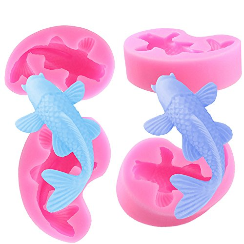 Hosaire 1Pcs Fish Fondant Cake Decorating Tools Silicone Soap Candle Fimo Clay Mold