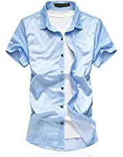 Cloudstyle Men's Cotton slim Fit Thin Short Sleeves Shirt Blue