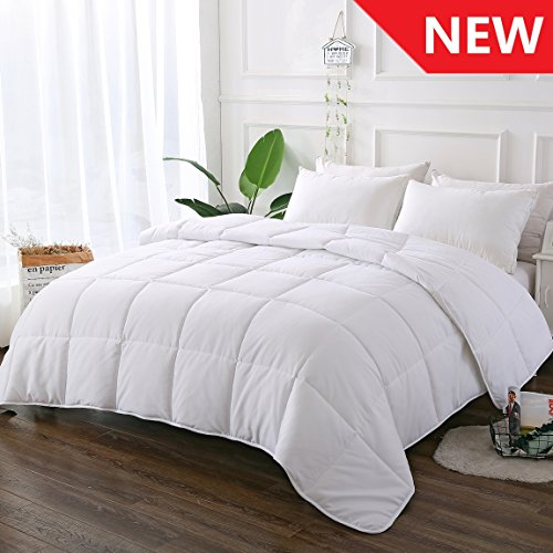White Comforter Quilted Reversible Duvet Insert King Size with Corner Tabs, Hypoallergenic Breathable for All Season, Fluffy Light-weighted Goose Down Alternative Comforter, 90 by 102 inches