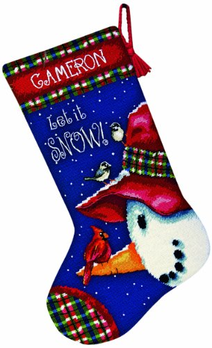 Dimensions Needlepoint, Snowman Perch Stockings]()