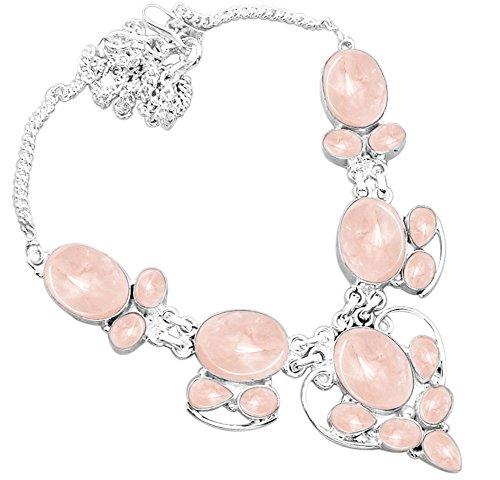 925 Silver Plated 55.50ctw Genuine Rose Quartz Necklace (Genuine Rose Quartz Necklace)