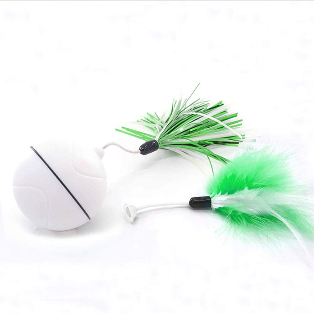 HKJCC Pet cat Toy LED Automatic Scrolling Light Electric Toy Funny cat Ball Replaceable Feather USB Charging,Green