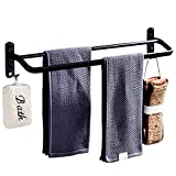 WISKEO Bathroom Adhesive Towel Rails, Towel Racks Wall Mounted No Drilling, Black Aluminum, Storage Organizer Holder with Hooks, for Kitchens 60CM/23.6 Inch