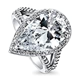 BERRICLE Rhodium Plated Sterling Silver Cubic Zirconia CZ Halo Engagement Split Shank Ring Size 5