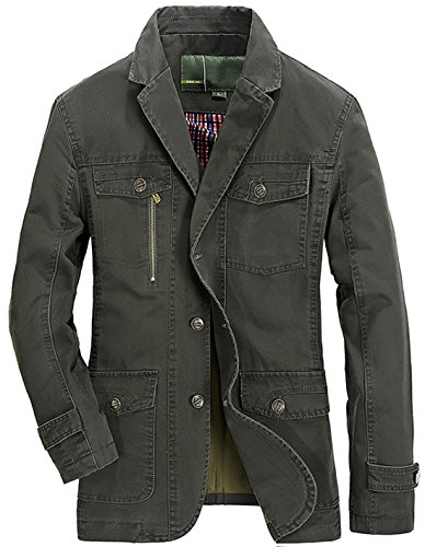 Chouyatou Men's Casual Notched Collar Multi Pockets 3 Buttons Lightweight Blazer Jackets (Medium, Armygreen)