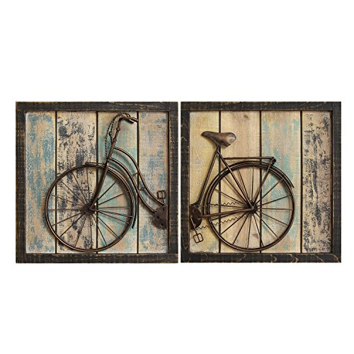 Stratton Home Decor S01209 Bicycle Wall Decor, Set of 2, Rustic For Sale