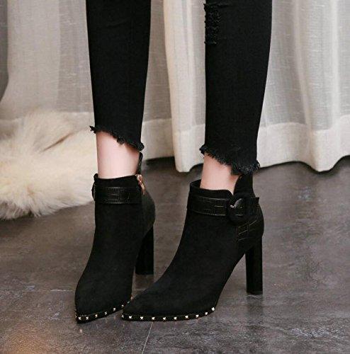 Velours Rivet Boots Avec Coton Clip De Bare L'air Satin Martin Pointe La Chaussures Épais Ceinture 38 Bottes Noir Khskx 9cm Couture Plus SqPttg