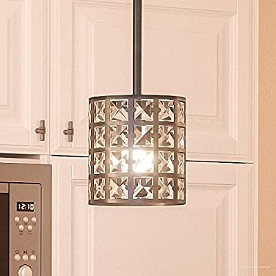 """Luxury Crystal Hanging Pendant Light, Small Size: 7.5""""H x 6.5""""W, with Metropolitan Style Elements, Drum Design, Royal Bronze Finish and Suspended Square Crystal Shade, UQL2464 by Urban Ambiance"""