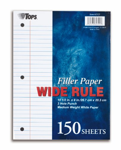 TOPS Filler Paper, Wide Rule, 10.5 x 8 Inches, 16 Pound, 150 Sheets, White, (62325) by Tops