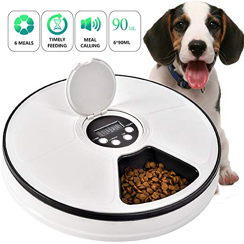 (Automatic Pet Feeder Cats Dogs, 6 Meal Trays Dry Wet Food Dispenser with Voice Remind,LCD Smart Programmable Timed Self Container Digital Clock Portion Control)