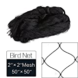 """50' X 50' Net Netting for Bird Poultry Aviary Game Pens New 2"""" Square Mesh Size, Garden Netting Protects Fruit & Plant from Hungry Birds & Chickens (50'*50' with 2'*2' mesh)"""