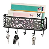 mDesign Letter Holder Organizer with Key Rack for Entryway, Kitchen - Wall Mount, Matte Black