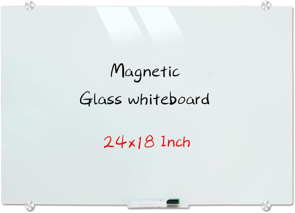 Magnetic Glass Whiteboard, Wall Mounted Glass Dry Erase White Board, Frosted White Surface, Frameless Glass Board with 4 markers, 2 Magnets, 1 Eraser, 24 x 18 Inch