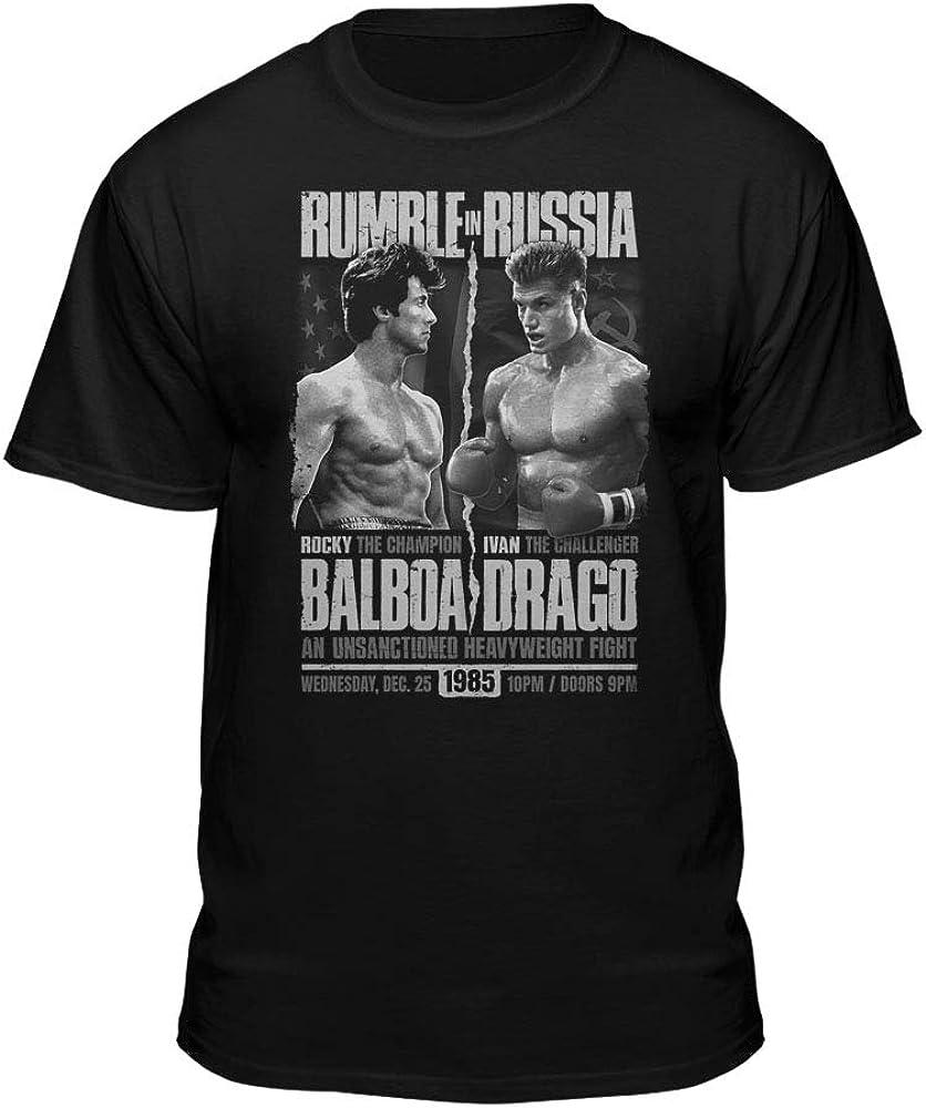 Black T-Shirt Rocky Balboa Rambo Stallion Sylvester Stallone Boxing
