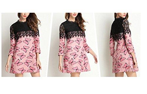 Rosa FuweiEncore pizzo maniche Abito in maniche a lunghe corte a stampa con lungo floreale wrROqYx1r