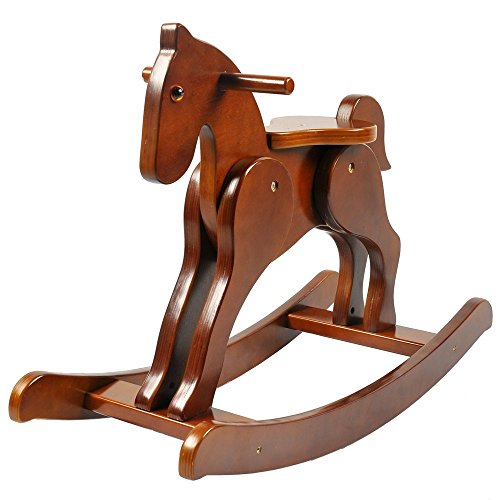 labebe Child Rocking Horse, Wooden Rocking Horse Toy, Brown Rocking Horse for Kid 1-3 Years, Vintage Rocking Horse Set/Kid Rocking Horse Chair/Outdoor Rocking Horse/Rocker/Animal Ride/Rocking Toy