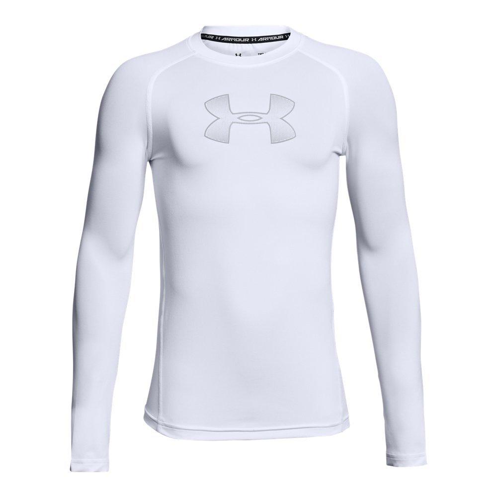 Under Armour Boys' HeatGear Armour Long Sleeve, White (101)/Overcast Gray, Youth X-Large by Under Armour