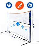 Portable 10 Foot Long and 5 Foot High - Adjustable Height Beach Badminton,Volleyball, Tennis and Soccer Tennis - Net Stand for Family Sport Outdoor Games. Total weight 6.2 pounds by Street Tennis Club