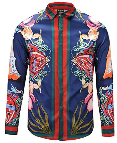 PIZOFF Mens Long Sleeve Luxury Snake Navy Print Dress Shirt Y1792-28-XL