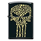 Black Matte Gold Flake Punisher Skull Custom Zippo Windproof Collectible Lighter. Made in USA Limited Edition