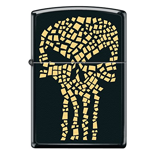 Black Matte Gold Flake Punisher Skull Custom Zippo Windproof Collectible Lighter. Made in USA Limited (Black Crackle Matte)