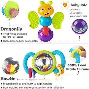 iPlay, iLearn 10pcs Baby Rattle Toys, Infant Shaker,