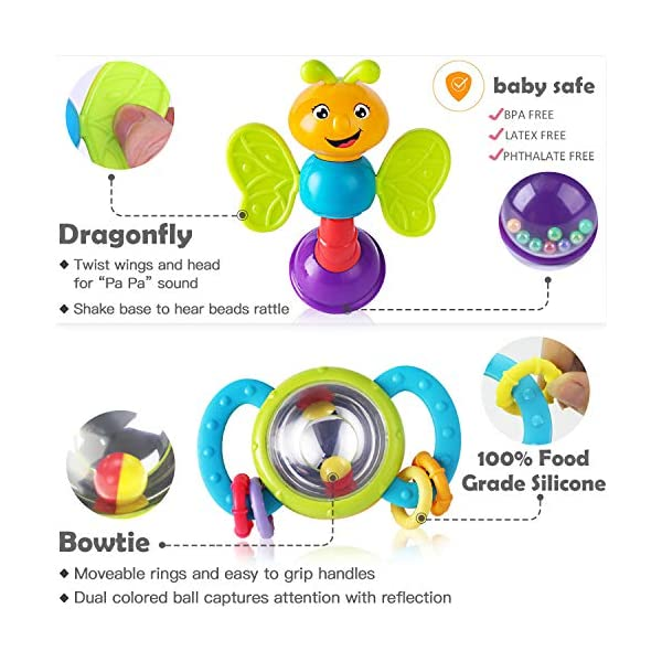 Early Development and Education Gift Set for 3 Grab /& Shake Boys and Girls 6 alilo Baby Rattle Teethers Set 8pcs Infant Shaker 9 Months Old Teething Toddlers and Newborn Easy to Chew