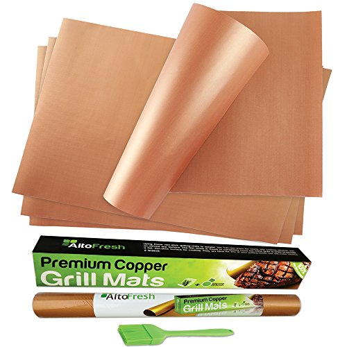 - Alto Fresh Copper Grill Mats & Bake Mats with Silicone Brush Set of 4 - Best Grill Mats Non Stick, Easy to Clean, Reusable Grilling Mats for Gas Grill, BBQ Grill, Charcoal Grill, Baking and Barbeque