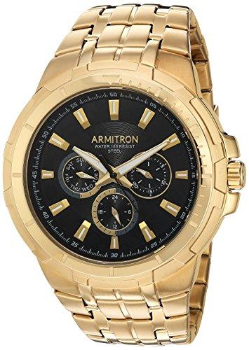 Armitron Men's 20/5144BKGP Multi-Function Dial Gold-Tone Bracelet (Gold Tone Water Resistant Bracelet)