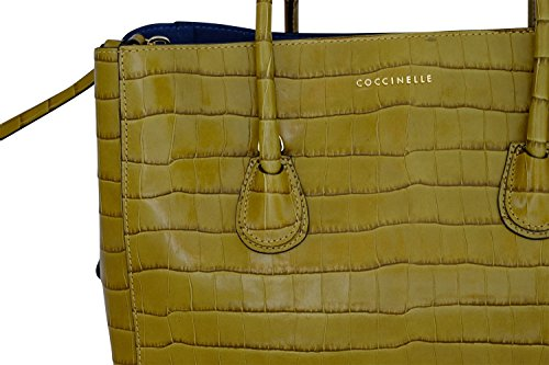 Coccinelle Celly Croco hand bag leather St. Croco Kaki/Blue