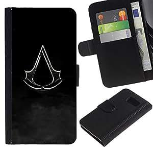 LECELL--Cuero de la tarjeta la carpeta del tirón Smartphone Slots Protección Holder For Samsung Galaxy S6 -- Bandera Assassin --