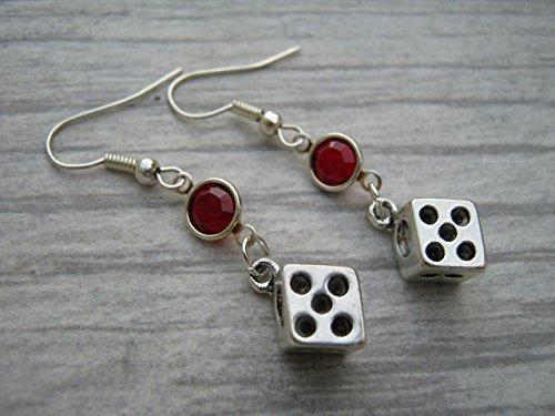 Dice Birthstone Earrings, Personalized Pair of Dice Earrings, Game Earrings, Swarovski Crystal Earrings