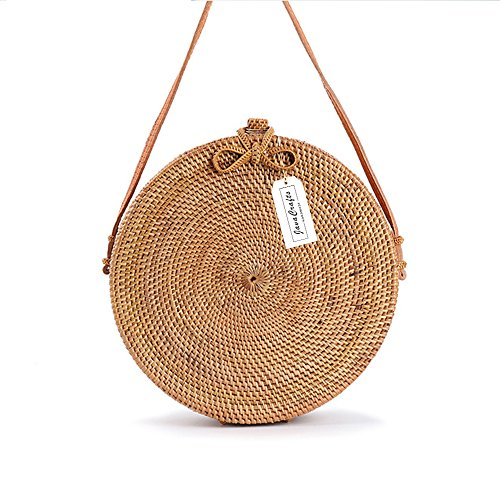 JavaCrafts Handwoven Rattan Bag Round Circle Tropical Beach Style Crossbody Woven Tote Basket Bali Bag (Round Woven (Tropical Rattan)