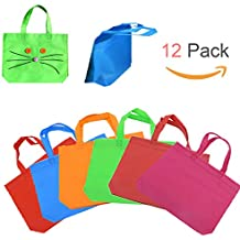 """Shindel 13""""  Party Gift Tote Bags Blank Non-woven fabric Rainbow Colors with Handles for Birthday Favors, Snacks, Decoration, Arts & Crafts, Event Supplies,12 PCS"""