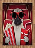 Pug Area Rug by Ambesonne, Funny Dog Watching Movie Popcorn Soft Drink and Glasses Animal Photograph Print, Flat Woven Accent Rug for Living Room Bedroom Dining Room, 5.2 x 7.5 FT, Red Cream Ruby