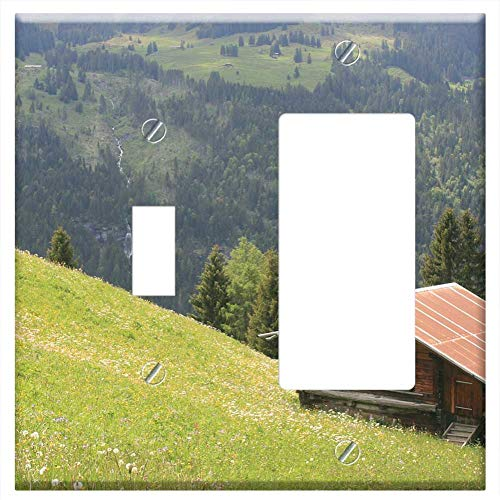 1-Toggle 1-Rocker/GFCI Combination Wall Plate Cover - Chalet Cabin Cottage Alps Alpine Switzerland (Green Cottage Rocker)