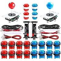 Qenker 2-Player LED Arcade DIY Kit for USB MAME PC Game DIY & Raspberry Pi Retro Controller DIY Including 2X Arcade Joystick, 20x LED Arcade Buttons, 2X Zero Delay USB Encoder (Blue & Red)