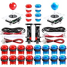 Qenker 2-Player LED Arcade DIY Kit for USB MAME PC Game DIY & Raspberry Pi Retro Controller DIY Including 2X Arcade Joystick, 20x LED Arcade Buttons, 2X Zero Delay USB Encoder (Blue & Red)