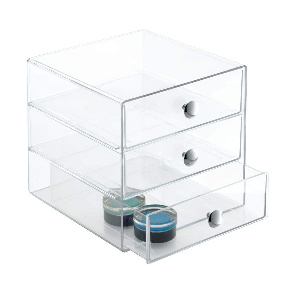 3-Drawer Multipurpose Storage Container with Knobs, Clear