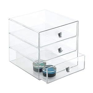 "InterDesign 3-Drawer Plastic Vanity, Compact Storage Organization Set for Dental Supplies, Hair Care, Bathroom, Dorm, Desk, Countertop, Office, 6.5"" x 6.5"" x 6.5"" Clear"