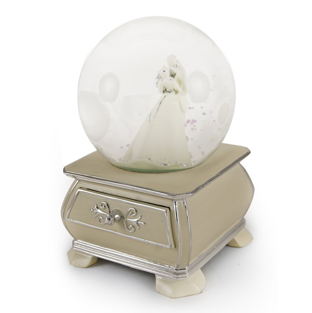 Incredible Wedding Couple Snow Dome with French Country Style Commode Base - Ballerina Girl (Lionel Richie)