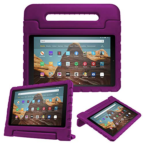 Fintie Case for All-New Amazon Fire HD 10 (7th and 9th Generations, 2017 and 2019 Releases) - Kiddie Series Shock Proof Light Weight Convertible Handle Stand Kids Friendly Cover, Purple