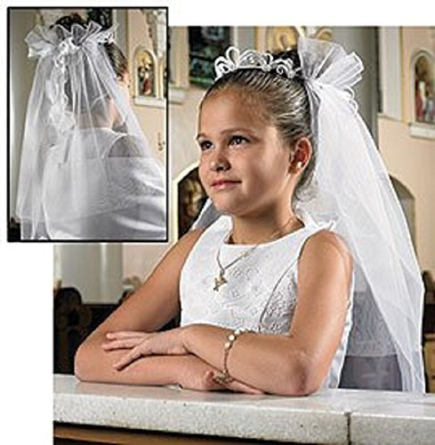 Girls Tiara First Communion Veil, Boxed -- Lace/silk Floral -- 25