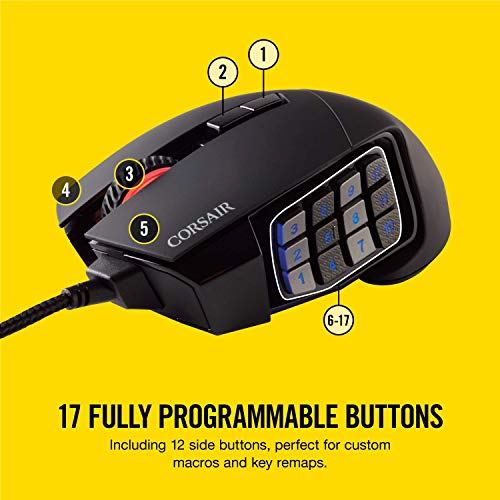 8c0ca0c0421 Corsair Scimitar PRO RGB Optical MMO Gaming Mouse (16000 DPI Optical  Sensor, 12 Programmable Side Buttons, 4-Zone RGB Multi-Colour Backlighting,  ...
