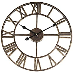 SOLEDI Wall Clock 16 Inch Iron Roman Retro Nostalgic Clock Silent Sweep Non-ticking Large Decorative for Home Kitchen Hotel Bar Office Decoration Gift (Dark Gold)