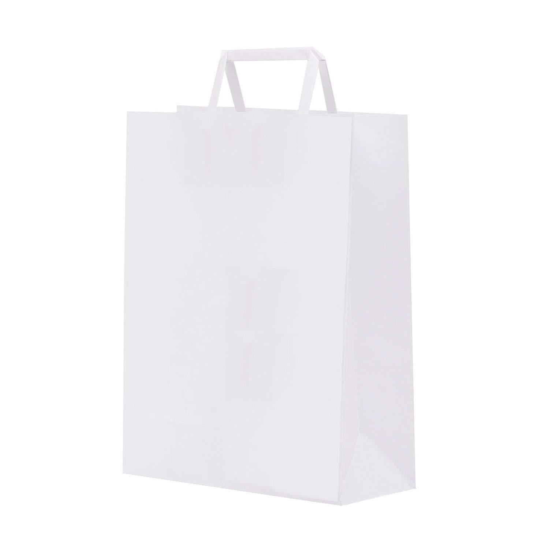 conf 1 Scatola 350 shoppers 22x10x29cm bianco neutro piattina