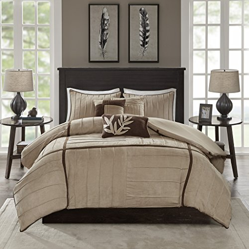 Khaki Hampton (Madison Park Dune Duvet Cover Queen Size - Khaki, Pieced Duvet Cover Set – 6 Piece – Faux Suede Light Weight Bed Comforter Covers)