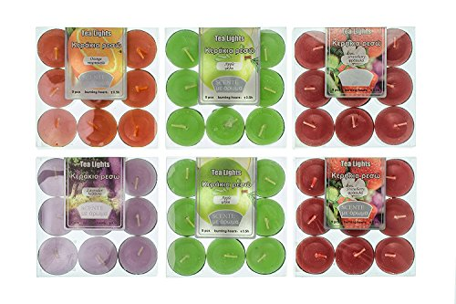 - Highly scented tea lights candles set 54pcs 4 flavors assortment tealights (6x9-packs) 4 scents Lavender Strawberry Apple Orange