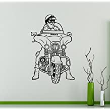 Police Motorcycle Wall Decal Motorbike Vinyl Sticker Home Bike Racing Interior Removable Decor Garage Wall Design 23(mbk)